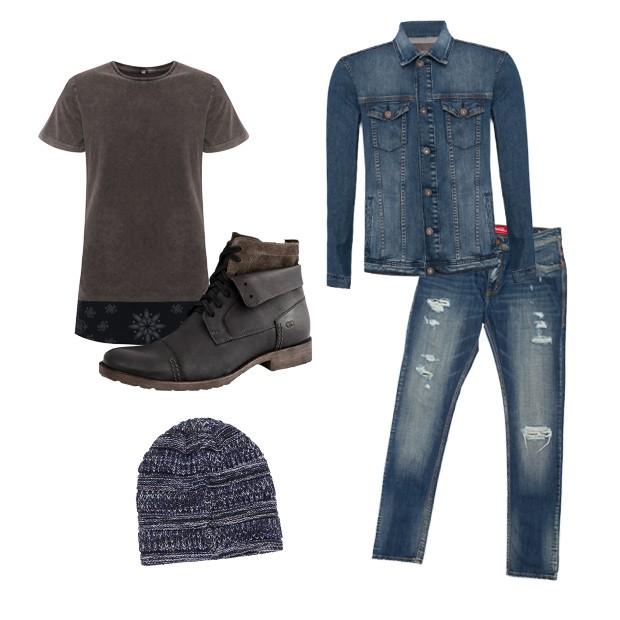 Camiseta (R$ 49,90) e jaqueta (R$ 169,90) C&A, bota Democrata (R$ 360), gorro Renner (R$ 39,90), calça Coca-Cola Clothing (R$ 428) (Foto: Divulgação)