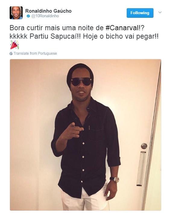 """BLOG: Ronaldinho posta a caminho da Sapucaí: """"Hoje o bicho vai pegar"""""""
