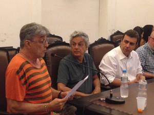 Ivan Lins, Caetano Veloso e o deputado Marcelo Freixo (Foto: Daniel Silveira / G1)