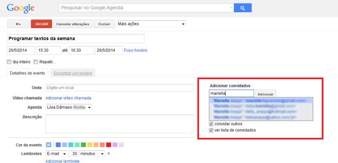 Inserindo os e-mails dos contatos para compartilhar o evento da Agenda do Google (Foto: Reprodução/Lívia Dâmaso)