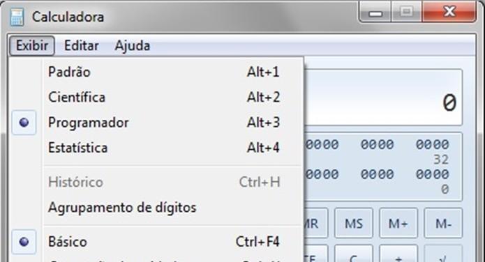 """Calculadora do Windows 7 com menu """"Exibir"""" aberto (Foto: Reprodução/Raquel Freire) (Foto: Calculadora do Windows 7 com menu """"Exibir"""" aberto (Foto: Reprodução/Raquel Freire))"""