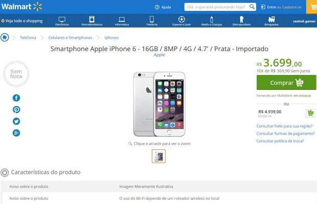 d879259e117 Walmart começa a vender no Brasil iPhone 6 e iPhone 6 Plus, que ainda não