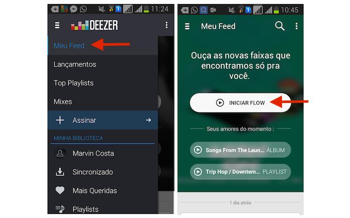 Iniciando o modo Flow do Deezer no Android (Foto: Reprodução/Marvin Costa)