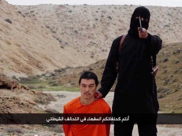 Cena do vídeo divulgado pelo Estado Islâmico com a suposta execução de Kenji Goto (Foto: Reprodução/Youtube)