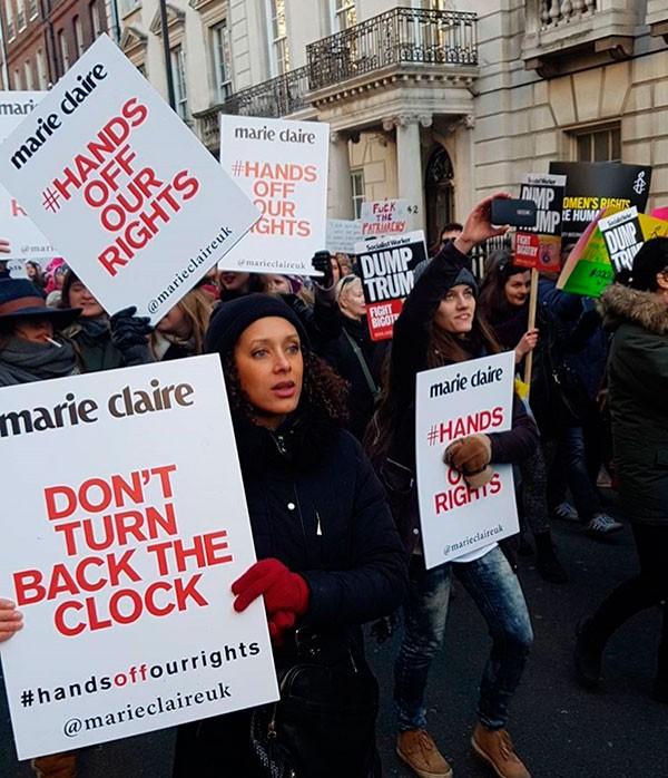 Marcha contra Trump em Londres (Foto: Reprodução/Instagram/MarieClaireUK)