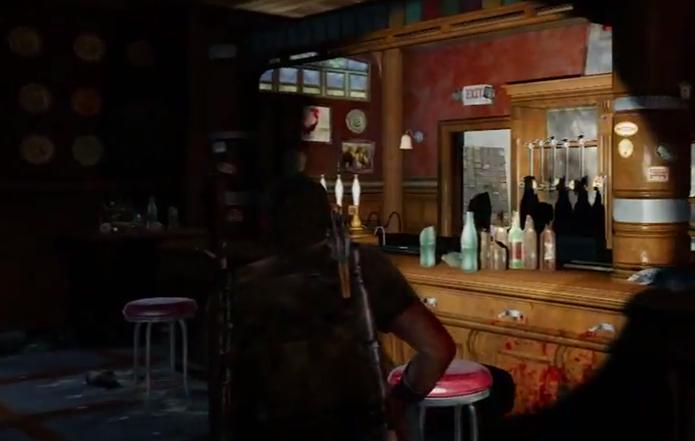 O pub irlandês do início de Uncharted 3 também está em the Last of Us (Foto: Reprodução/Youtube)