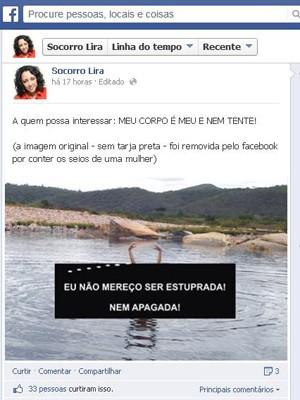 A foto da cantora Socorro Lira, da Paraíba, com os seios a mostra foi retirada do ar pela rede social (Foto: Reprodução/ Facebook)