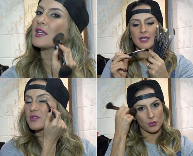 No vídeo, Claudia ensina como usar os pincéis na maquiagem (Foto: Gshow/TV Globo)