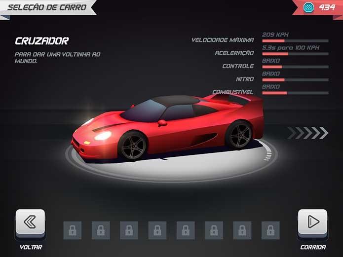 Horizon Chase: escolhendo o carro (Foto: Reprodução/Felipe Vinha)