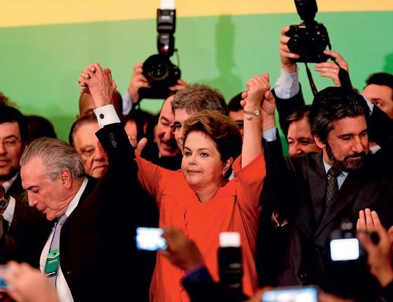 Temer e Dilma na campanha de 2014.Diante do perigo,o Planalto joga para adiar o julgamento (Foto:   Alan Marques/Folhapress)
