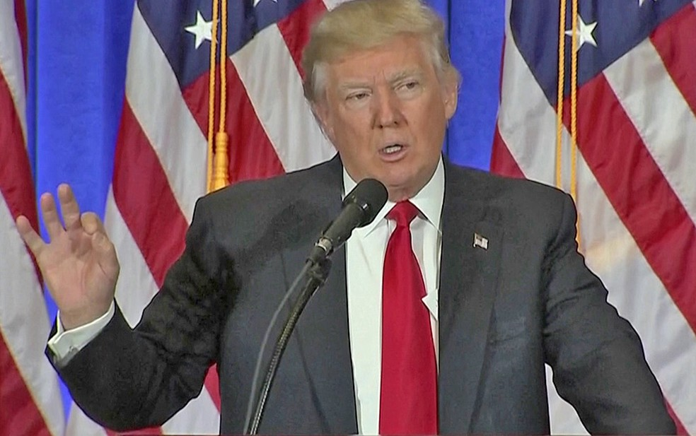 O futuro presidente dos EUA, Donald Trump, concede 1ª entrevista coletiva desde a eleição (Foto: Reprodução)
