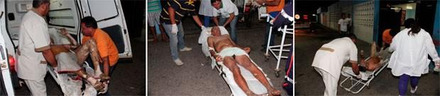 Vítimas foram socorridas para o hospital com queimaduras de até 3º grau (Foto: Marcelino Neto)