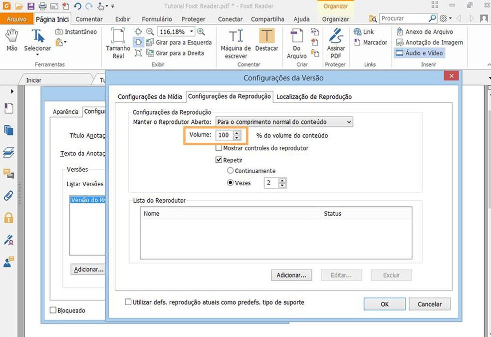 Escolha o nível de volume padrão para reproduzir os arquivos de vídeo ou áudio  (Foto: Reprodução/Davi de Lima)