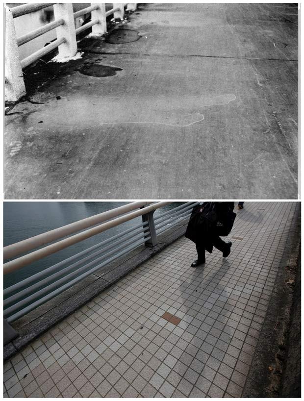 Primeira foto mostra marca no chão de silhueta de pedestre que estava na ponte Yorozuyo quando a bomba explodiu, em 1945; a segunda imagem mostra o mesmo local, que fica a 860 metros do epicentro da explosão, em julho de 2015 (Foto: REUTERS/U.S. Army/Hiroshima Peace Memorial Museum/Handout via Reuters/Issei Kato)