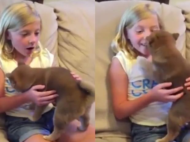Menina emocionada com o presente  (Foto: Reprodução/ YouTube)