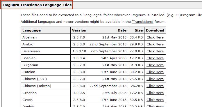 Localizando a área ImgBurn Translation Language Files (Foto: Reprodução/Edivaldo Brito)