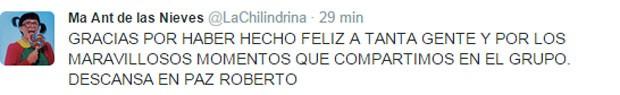 Mensagem da intérprete da Chiquinha para Bolanõs (Foto: Reprodução/ Twitter)