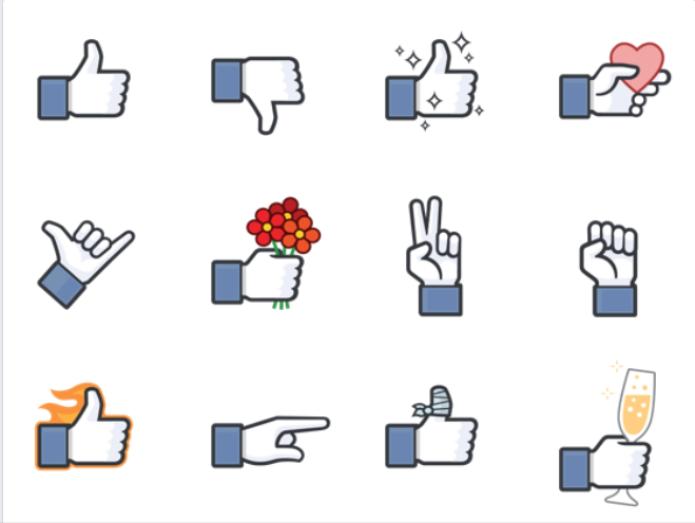 Novo pacote de sticks do Facebook traz a mãozinha do botão like em poses divertidas (Foto: Reprodução/Lívia Dâmaso) (Foto: Novo pacote de sticks do Facebook traz a mãozinha do botão like em poses divertidas (Foto: Reprodução/Lívia Dâmaso))
