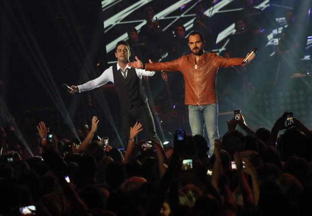 Zezé di Camargo e Luciano gravam DVD em São Paulo (Foto: Celso Tavares / EGO)