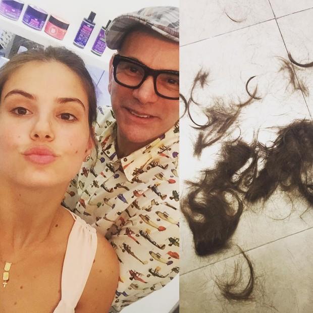 Camila Queiroz corta o cabelo (Foto: Reprodução/Instagram)
