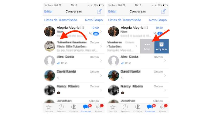Acessando as opções para um chat do WhatsApp para iPhone (Foto: Reprodução/Marvin Costa)