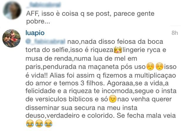 Luana Piovani discute com seguidora no Instagram (Foto: Instagram / Reprodução)