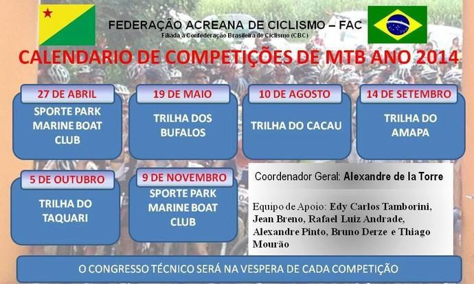 Calendário 2014 Federação Acreana de Ciclismo (Foto: Divulgação/Federação Acreana de Ciclismo)