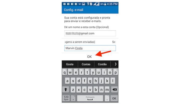 Realizando login de uma conta de e-mail no Galaxy Gran Prime Duos (Foto: Reprodução/Marvin Costa)