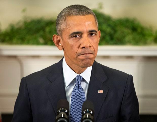 O presidente dos EUA, Barack Obama, fala sobre a permanência de tropas do país no Afeganistão nesta quinta-feira (15) na Casa Branca (Foto: Pablo Martinez Monsivais/AP)