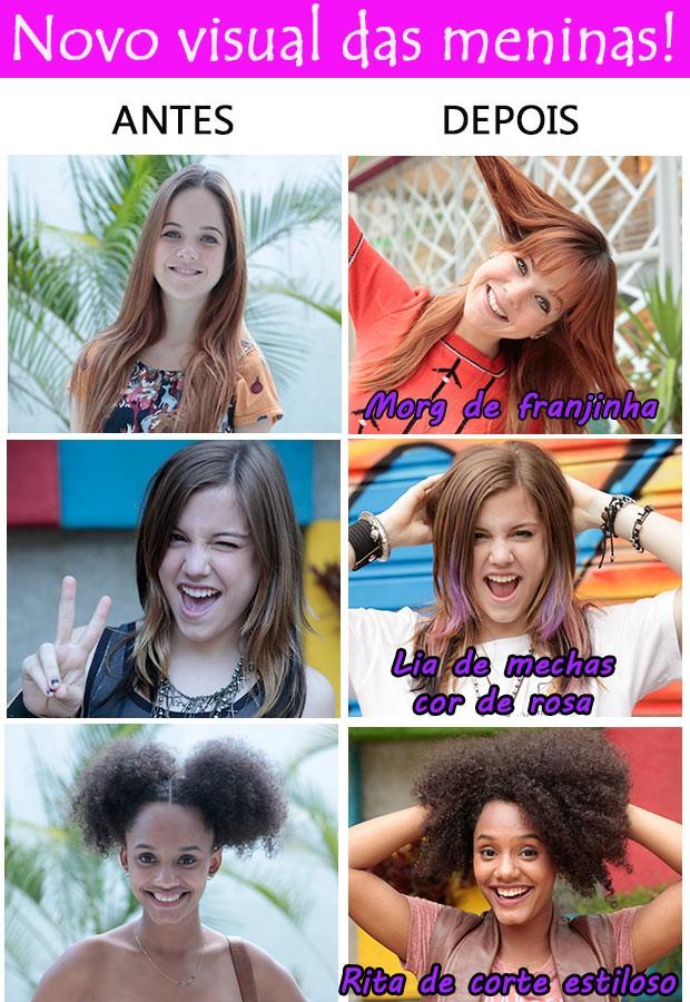 Antes e depois Lia Rita e Morgana (Foto: TV globo/Malhação)