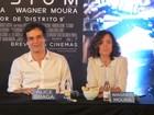 Em SP, Wagner Moura e Alice Braga lembram bastidores de 'Elysium'