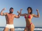 Laura Keller e Jorge Sousa 'secam' com malhação e dieta com bacon