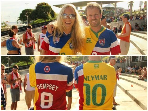 Namorados personalizaram camisas para acompanhar a Copa do Mundo no Brasil (Foto: Marcos Dantas/G1 AM)