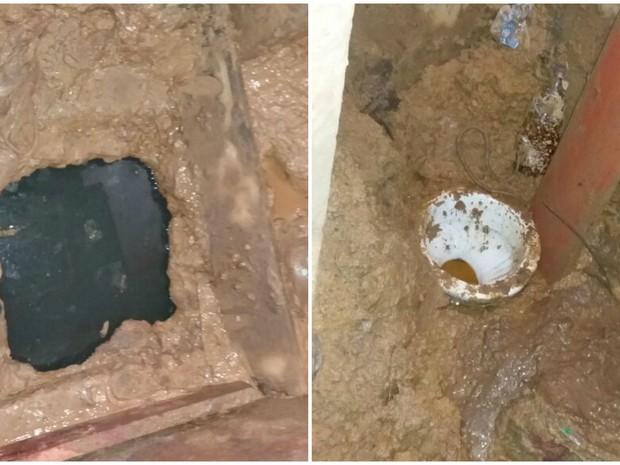 Buraco foi feito no chão do banheiro de cela (a esquerda) (Foto: Divulgação)