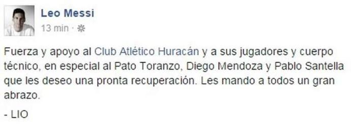 BLOG: Messi publica mensagem de apoio ao Huracán após acidente com equipe
