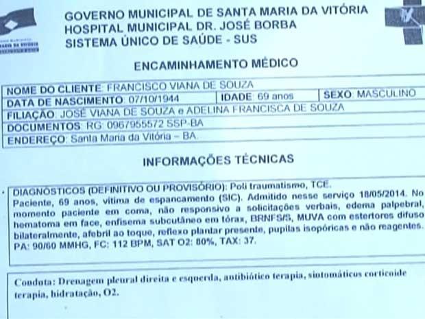 Documento do hospital onde o idoso recebeu os primeiros socorros antes de ser transferido para Brasília. (Foto: Imagens/TV Oeste)