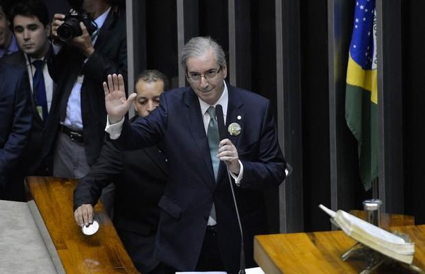 Eduardo Cunha (PMDB-RJ) durante discurso para conquistar votos dos colegas (Foto: Wilsom Dias/Agência Brasil)