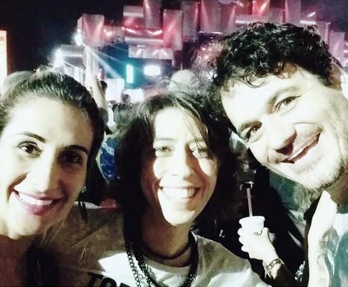 Rafael Oliveira curtiu o show do Rock in  Rio ao lado da mulher e uma amiga  (Foto: Arquivo Pessoal)