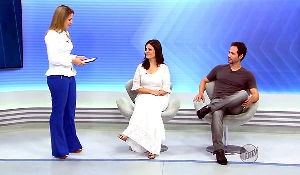 Os atores Juliana Arararipe e Antônio Sabóia durante entrevista no Jornal da EPTV 1ª Edição (Foto: Reprodução EPTV)