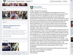Em página no Facebook, Altomani prevê 'colapso' por causa dos bloqueios  (Foto: Reprodução/Facebook)