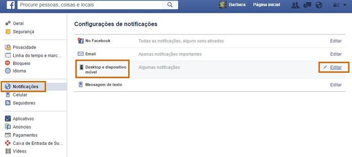 Encontre o item de notificações para desktop no menu do Facebook (Foto: Reprodução/Barbara Mannara)