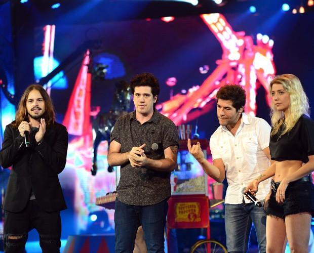 Kim lírio, Rogério Flausino, Daniel e Luiza Possi passando som  (Foto: Camila Serejo)