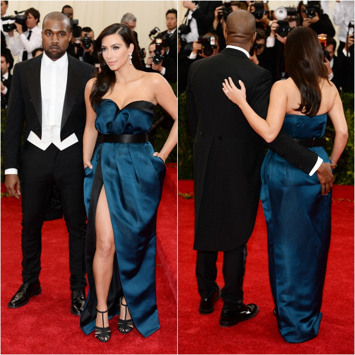 A socialite Kim Kardashian e o rapper Kanye West no MET Gala 2014. (Foto: Getty Images)