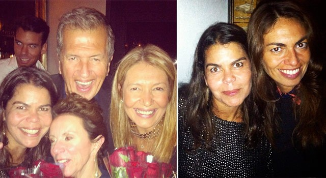 Snapshots da noite da Vogue Brasil no 12Bis: Daniela Falcão, Mario Testino, Donata Meirelles e Victoria Fernandez; à direita, Daniela com a stylist Viviana Volpicella (Foto: Reprodução/Instagram)