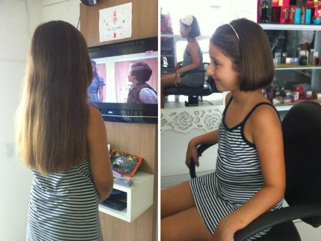 Menina de 7 anos cortou cabelo para doar a crianças com cancêr (Foto: Fábio Renato Pereira/Arquivo pessoal)