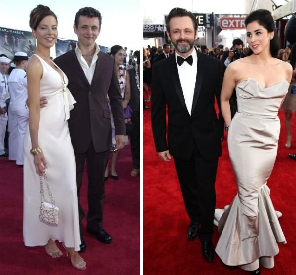 O ator Michael Sheen com as atrizes Kate Beckinsale e Sarah Silverman (Foto: Getty Images)
