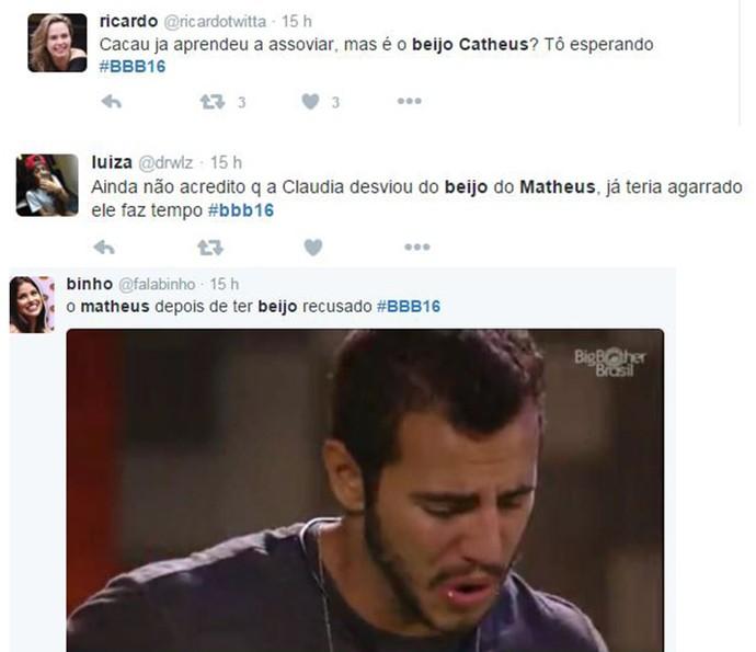 Comentários Maria Claudia e Matheus BBB16 (Foto: Reprodução Internet)
