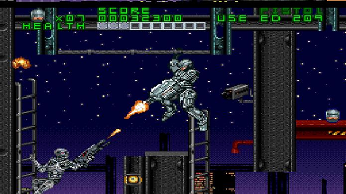 Inspirado em um mashup de HQs, RoboCop Versus The Terminator é um divertido game em plataforma 2D (Foto: Divulgação)