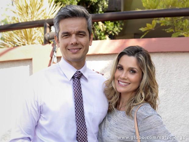 Otaviano e Flávia gravam juntos  (Foto: Salve Jorge/TV Globo)