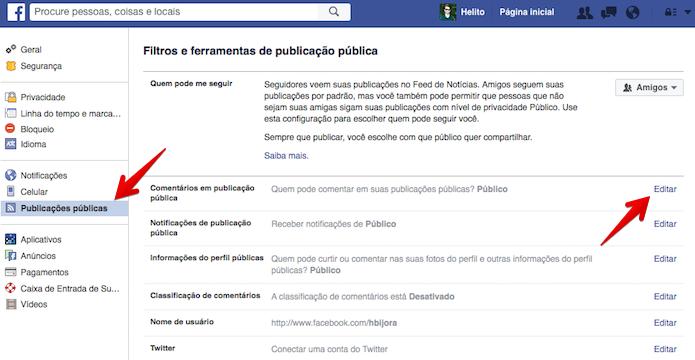 Vá para as configurações de comentários públicos (Foto: Reprodução/Helito Bijora)